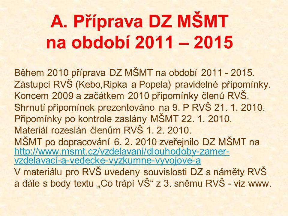 A. Příprava DZ MŠMT na období 2011 – 2015 Během 2010 příprava DZ MŠMT na období 2011 - 2015. Zástupci RVŠ (Kebo,Ripka a Popela) pravidelné připomínky.