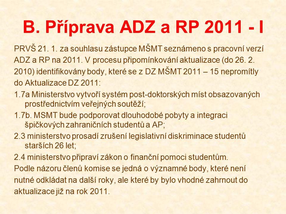 B. Příprava ADZ a RP 2011 - I PRVŠ 21. 1. za souhlasu zástupce MŠMT seznámeno s pracovní verzí ADZ a RP na 2011. V procesu připomínkování aktualizace