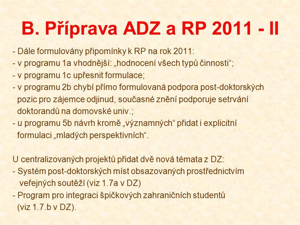 """B. Příprava ADZ a RP 2011 - II - Dále formulovány připomínky k RP na rok 2011: - v programu 1a vhodnější: """"hodnocení všech typů činnosti""""; - v program"""