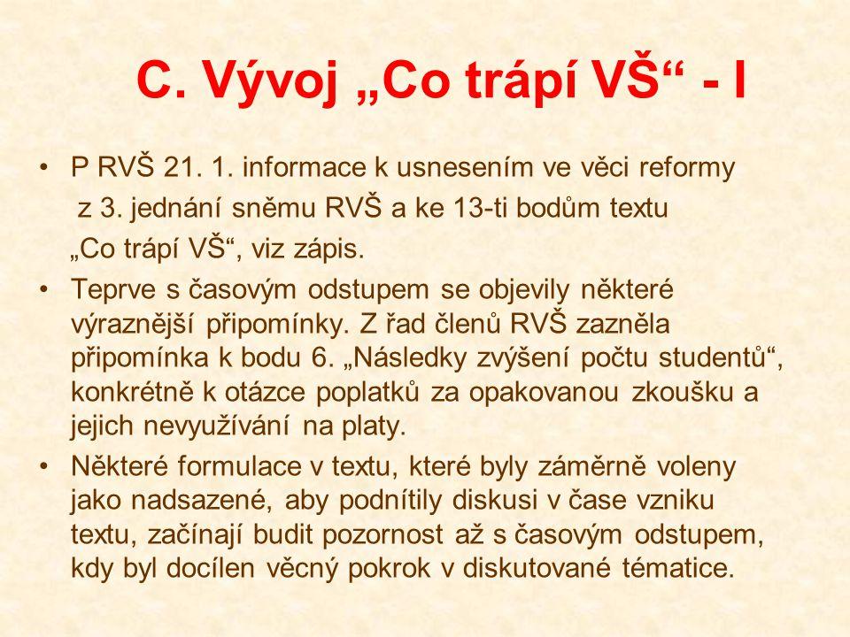"""C. Vývoj """"Co trápí VŠ"""" - I P RVŠ 21. 1. informace k usnesením ve věci reformy z 3. jednání sněmu RVŠ a ke 13-ti bodům textu """"Co trápí VŠ"""", viz zápis."""