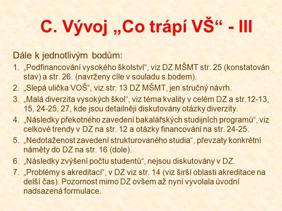 """C. Vývoj """"Co trápí VŠ"""" - III Dále k jednotlivým bodům: 1.""""Podfinancování vysokého školství"""", viz DZ MŠMT str. 25 (konstatován stav) a str. 26. (navrže"""