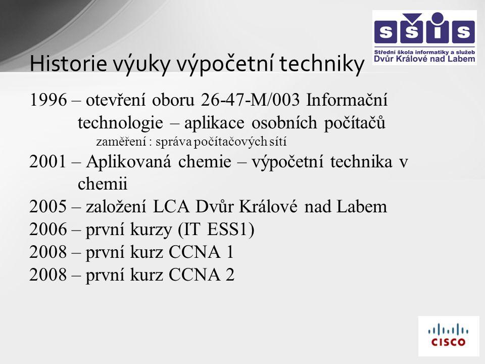 Historie výuky výpočetní techniky 1996 – otevření oboru 26-47-M/003 Informační technologie – aplikace osobních počítačů zaměření : správa počítačových sítí 2001 – Aplikovaná chemie – výpočetní technika v chemii 2005 – založení LCA Dvůr Králové nad Labem 2006 – první kurzy (IT ESS1) 2008 – první kurz CCNA 1 2008 – první kurz CCNA 2