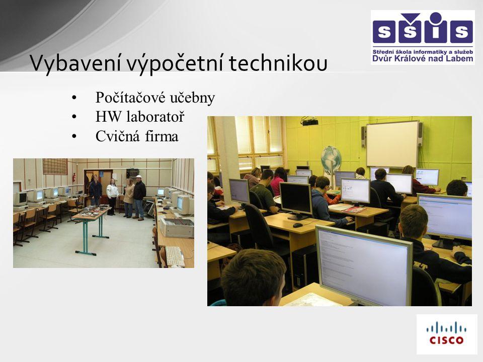Vybavení výpočetní technikou Počítačové učebny HW laboratoř Cvičná firma