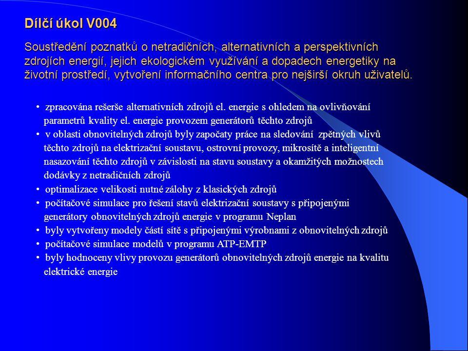 Dílčí úkol V004 Soustředění poznatků o netradičních, alternativních a perspektivních zdrojích energií, jejich ekologickém využívání a dopadech energetiky na životní prostředí, vytvoření informačního centra pro nejširší okruh uživatelů.