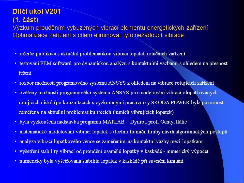 Dílčí úkol V201 (1.část) Výzkum prouděním vybuzených vibrací elementů energetických zařízení.