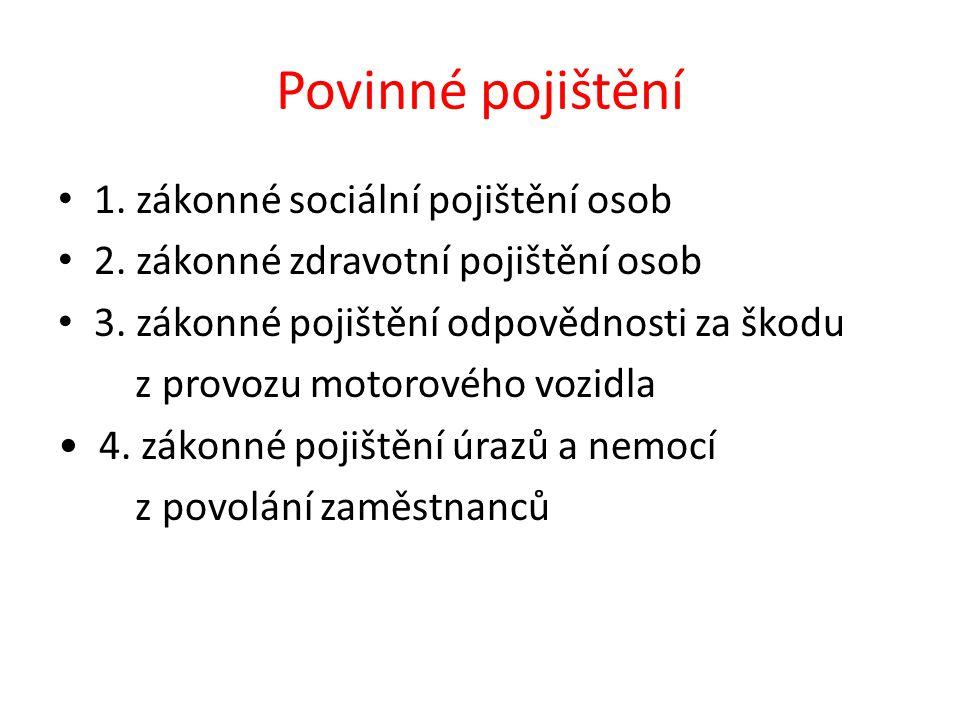 Povinné pojištění 1. zákonné sociální pojištění osob 2.