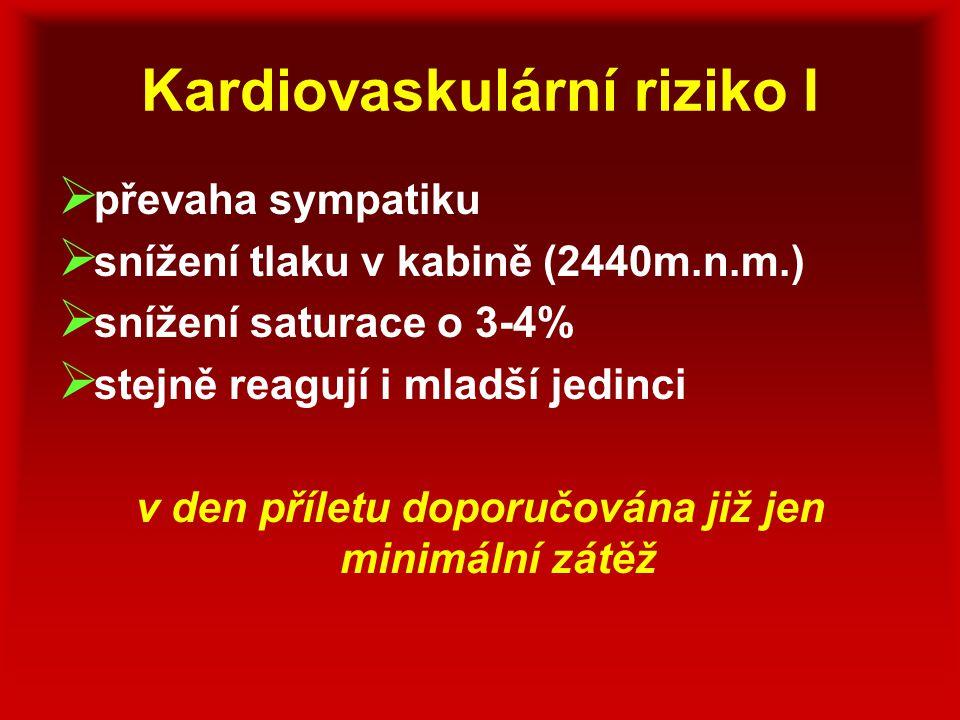Kardiovaskulární riziko I  převaha sympatiku  snížení tlaku v kabině (2440m.n.m.)  snížení saturace o 3-4%  stejně reagují i mladší jedinci v den
