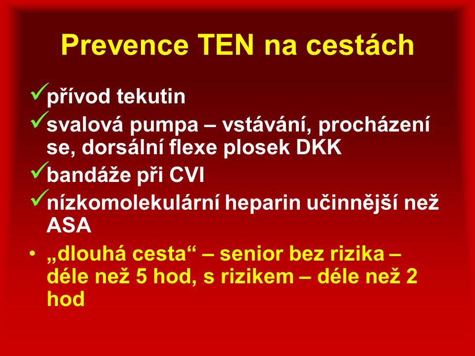 Prevence TEN na cestách přívod tekutin svalová pumpa – vstávání, procházení se, dorsální flexe plosek DKK bandáže při CVI nízkomolekulární heparin uči