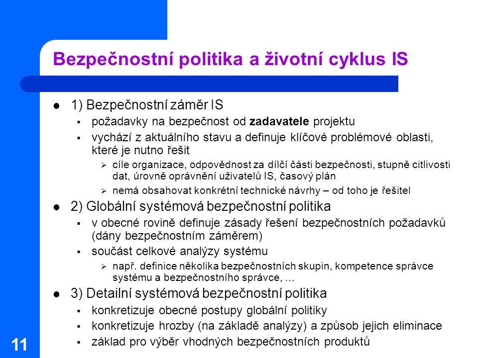 11 Bezpečnostní politika a životní cyklus IS 1) Bezpečnostní záměr IS  požadavky na bezpečnost od zadavatele projektu  vychází z aktuálního stavu a