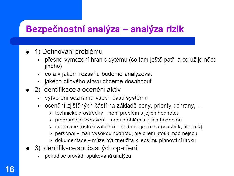 16 Bezpečnostní analýza – analýza rizik 1) Definování problému  přesné vymezení hranic sytému (co tam ještě patří a co už je něco jiného)  co a v ja