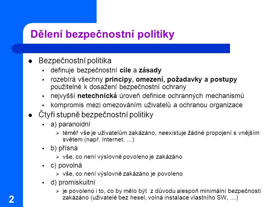 2 Dělení bezpečnostní politiky Bezpečnostní politika  definuje bezpečnostní cíle a zásady  rozebírá všechny principy, omezení, požadavky a postupy p
