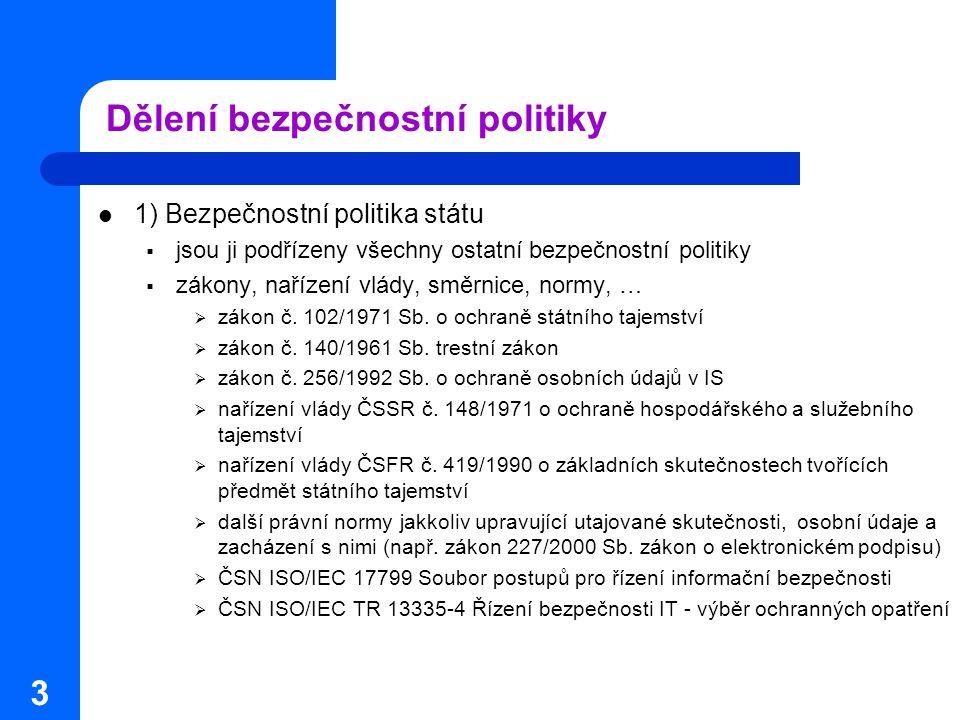 3 Dělení bezpečnostní politiky 1) Bezpečnostní politika státu  jsou ji podřízeny všechny ostatní bezpečnostní politiky  zákony, nařízení vlády, směr