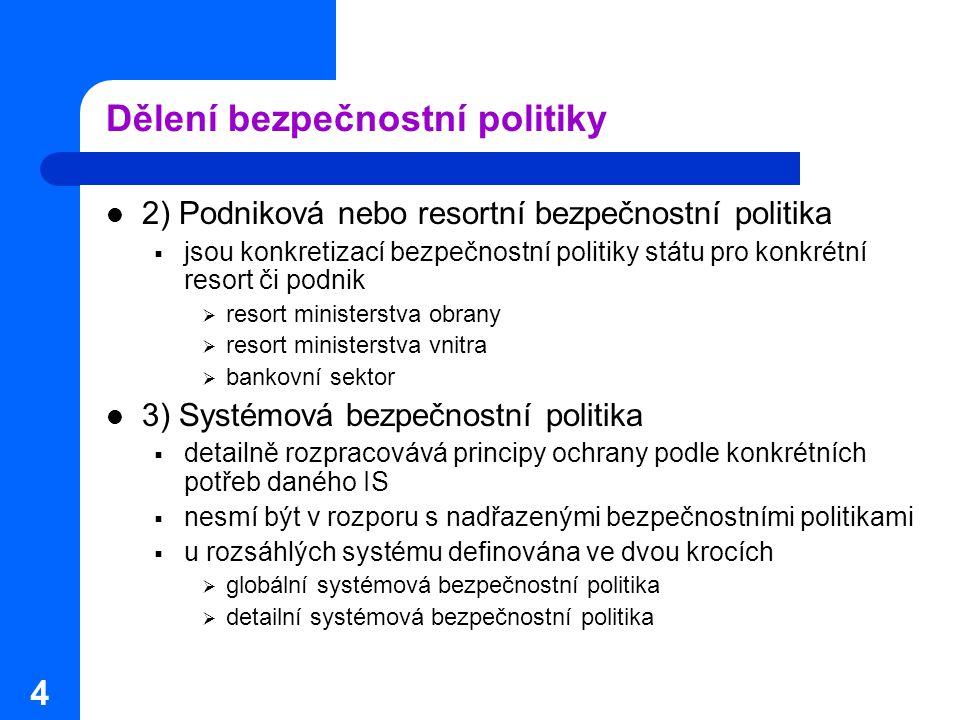 4 Dělení bezpečnostní politiky 2) Podniková nebo resortní bezpečnostní politika  jsou konkretizací bezpečnostní politiky státu pro konkrétní resort č