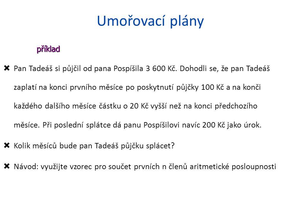 Umořovací plány  Pan Tadeáš si půjčil od pana Pospíšila 3 600 Kč.