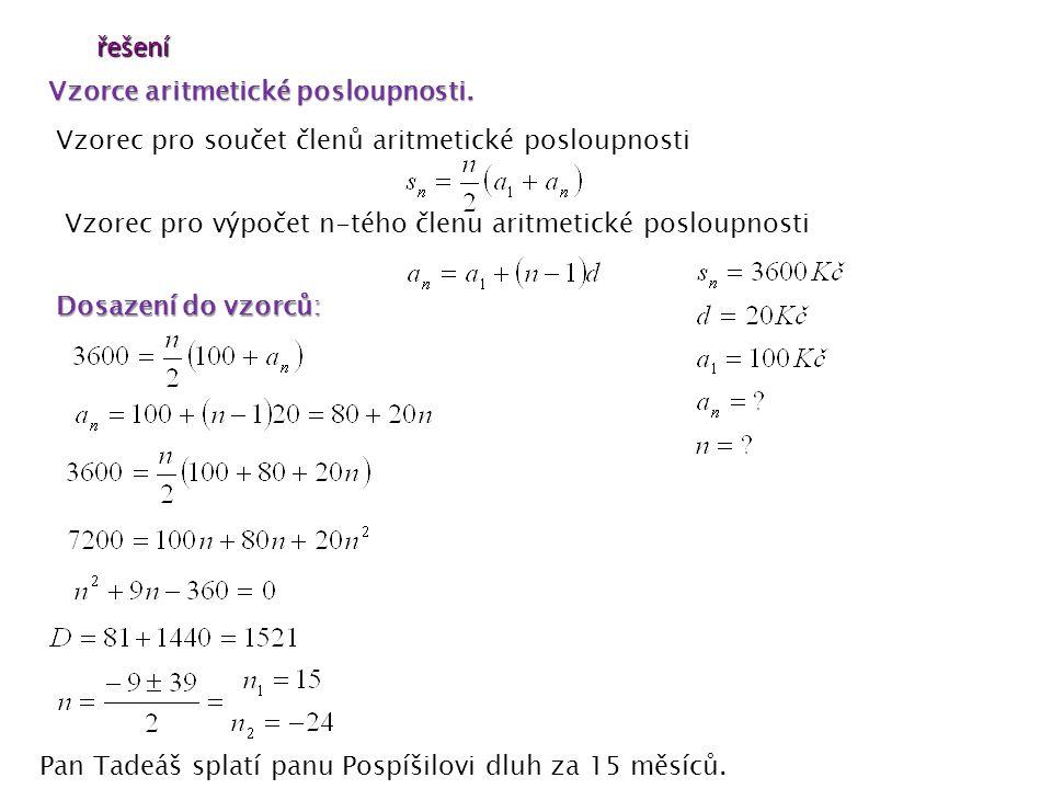 řešení Vzorce aritmetické posloupnosti.