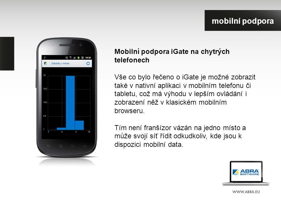 Mobilní podpora iGate na chytrých telefonech Vše co bylo řečeno o iGate je možné zobrazit také v nativní aplikaci v mobilním telefonu či tabletu, což má výhodu v lepším ovládání i zobrazení něž v klasickém mobilním browseru.