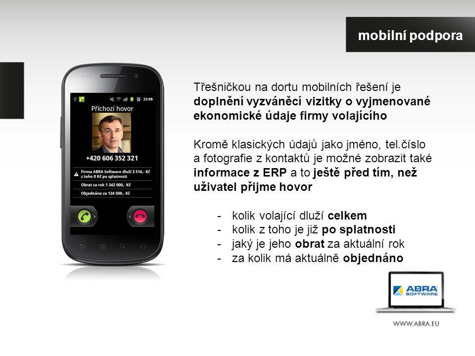 Třešničkou na dortu mobilních řešení je doplnění vyzváněcí vizitky o vyjmenované ekonomické údaje firmy volajícího Kromě klasických údajů jako jméno, tel.číslo a fotografie z kontaktů je možné zobrazit také informace z ERP a to ještě před tím, než uživatel přijme hovor -kolik volající dluží celkem -kolik z toho je již po splatnosti -jaký je jeho obrat za aktuální rok -za kolik má aktuálně objednáno mobilní podpora