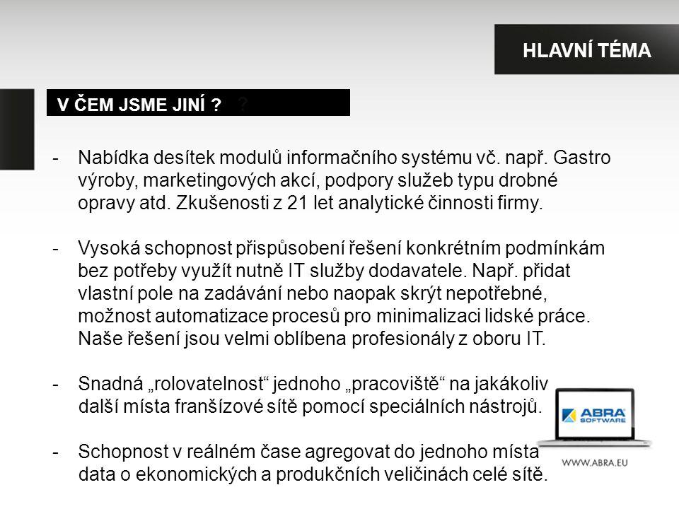 V ČEM JSME JINÍ . -Nabídka desítek modulů informačního systému vč.