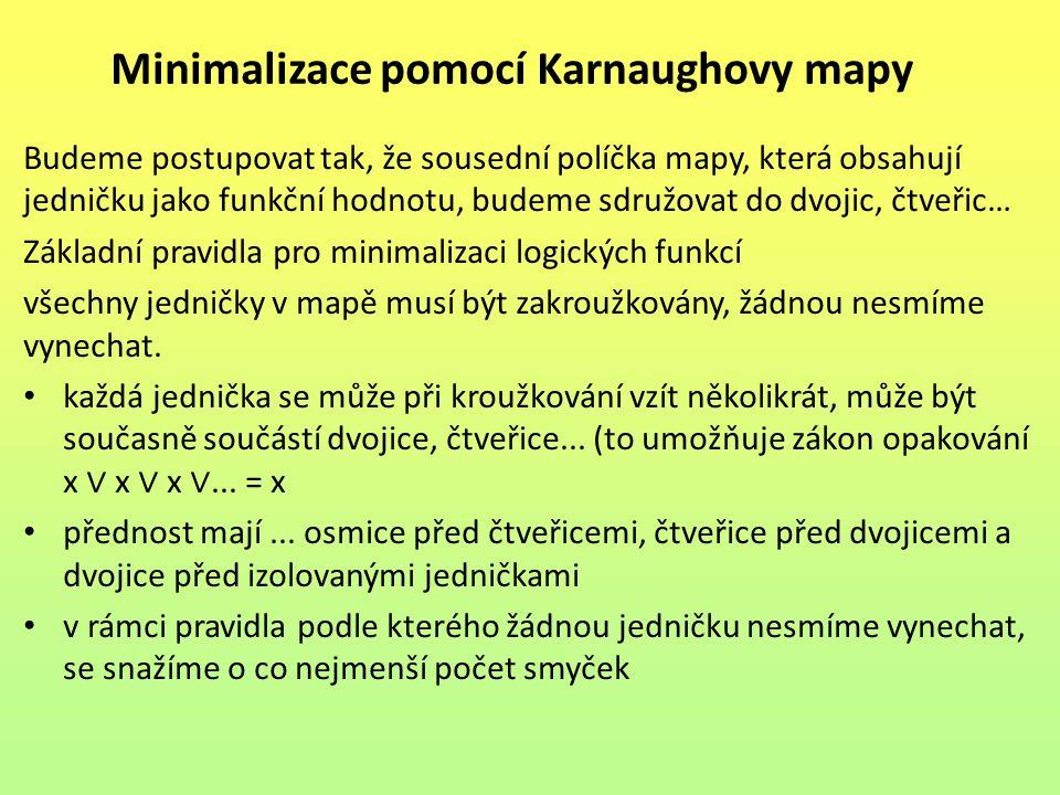 Minimalizace pomocí Karnaughovy mapy Budeme postupovat tak, že sousední políčka mapy, která obsahují jedničku jako funkční hodnotu, budeme sdružovat do dvojic, čtveřic… Základní pravidla pro minimalizaci logických funkcí všechny jedničky v mapě musí být zakroužkovány, žádnou nesmíme vynechat.