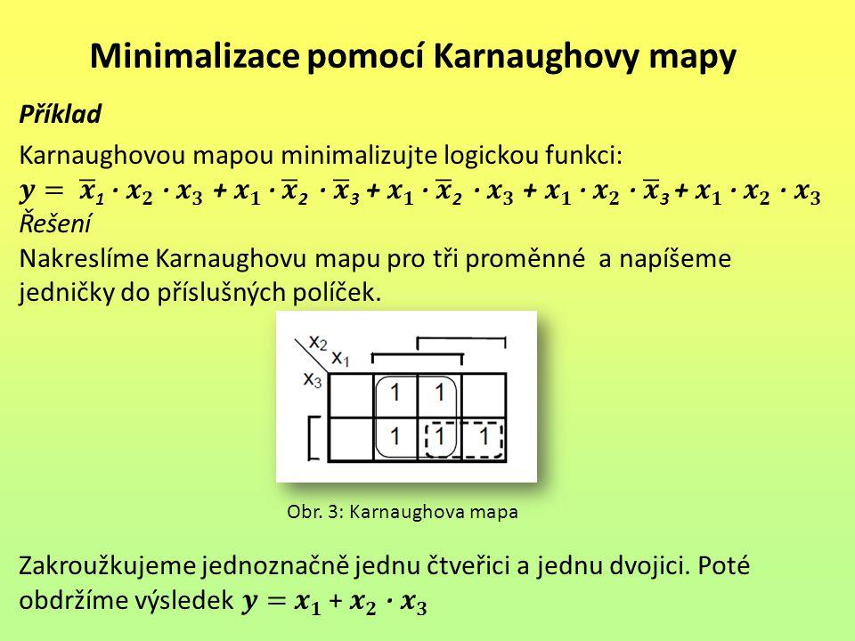 Minimalizace pomocí Karnaughovy mapy Obr. 3: Karnaughova mapa