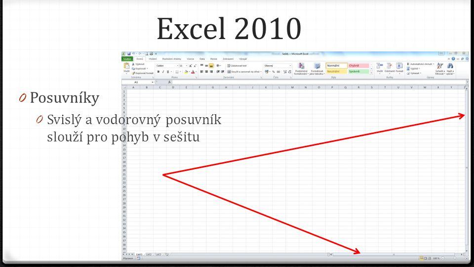 Excel 2010 0 Posuvníky 0 Svislý a vodorovný posuvník slouží pro pohyb v sešitu