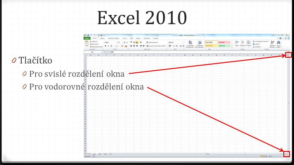Excel 2010 0 Minimalizace pásu karet a nápověda 0 Tlačítko pro minimalizaci pásu karet, zůstanou zobrazeny jen názvy 0 Tlačítko pro zobrazení nápovědy