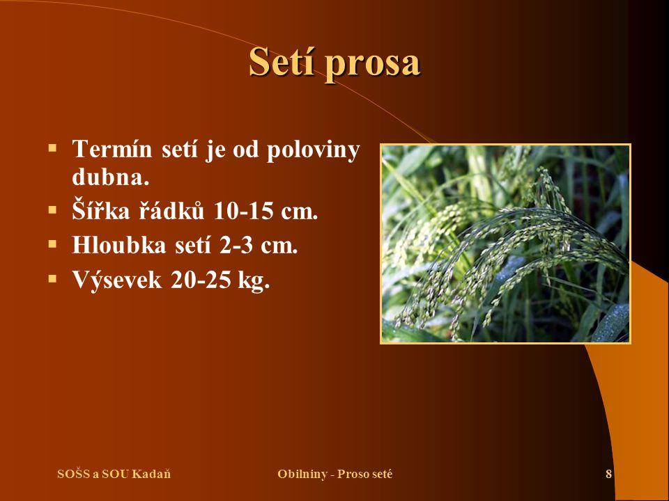 SOŠS a SOU KadaňObilniny - Proso seté8 Setí prosa  Termín setí je od poloviny dubna.  Šířka řádků 10-15 cm.  Hloubka setí 2-3 cm.  Výsevek 20-25 k