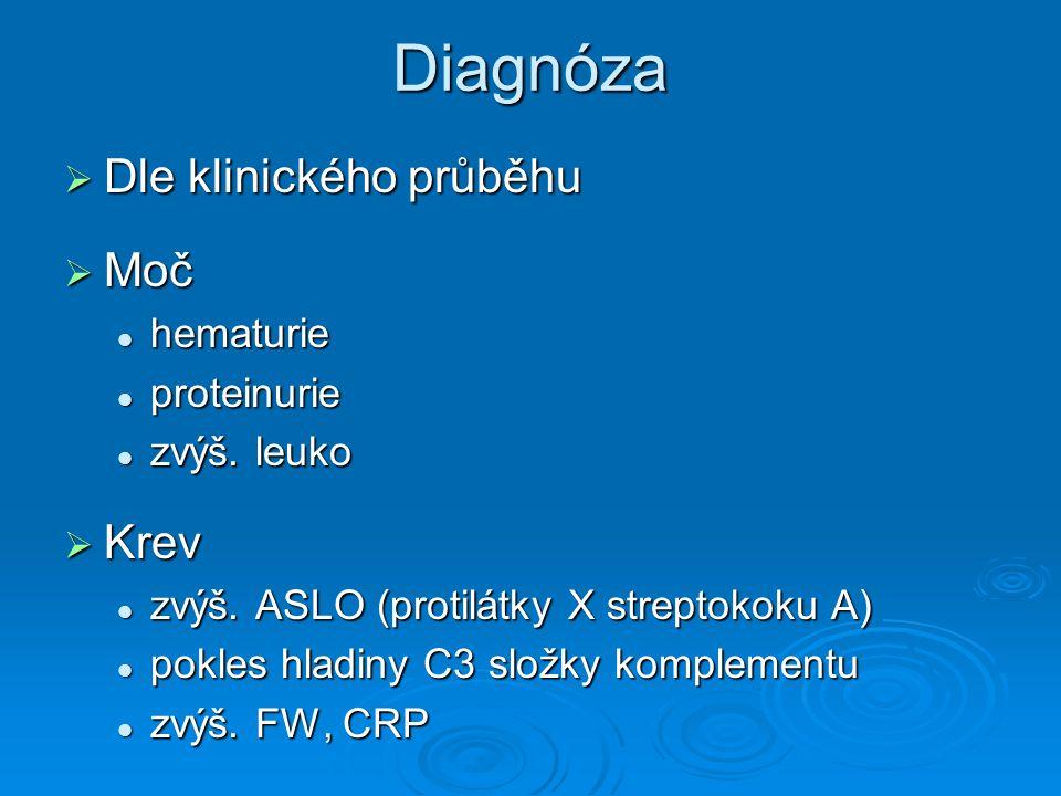 Diagnóza  Dle klinického průběhu  Moč hematurie hematurie proteinurie proteinurie zvýš. leuko zvýš. leuko  Krev zvýš. ASLO (protilátky X streptokok