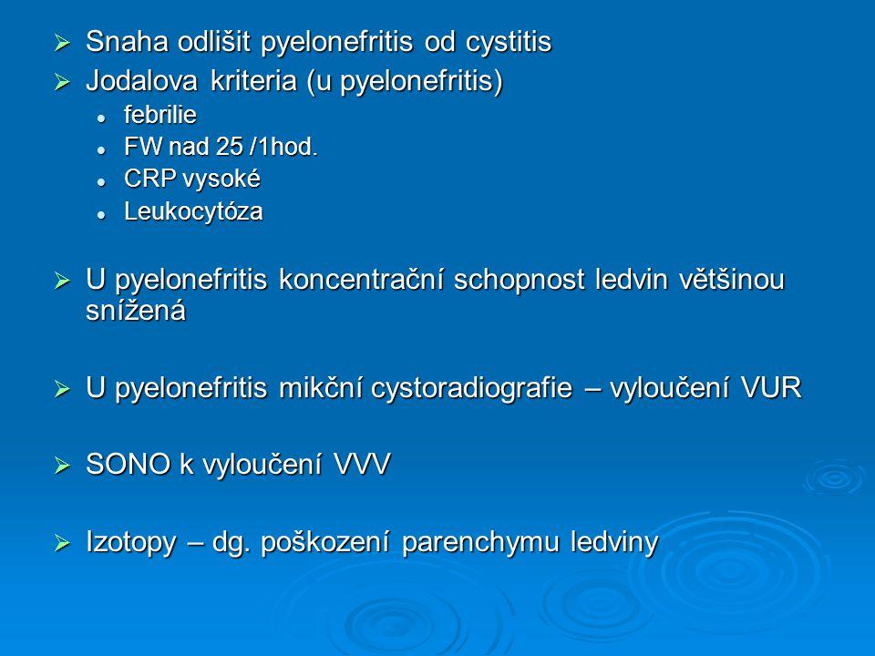  Snaha odlišit pyelonefritis od cystitis  Jodalova kriteria (u pyelonefritis) febrilie febrilie FW nad 25 /1hod. FW nad 25 /1hod. CRP vysoké CRP vys