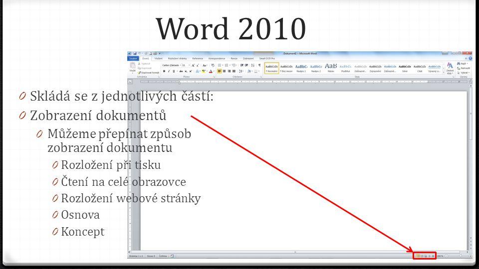 Word 2010 0 Skládá se z jednotlivých částí: 0 Zobrazení dokumentů 0 Můžeme přepínat způsob zobrazení dokumentu 0 Rozložení při tisku 0 Čtení na celé obrazovce 0 Rozložení webové stránky 0 Osnova 0 Koncept