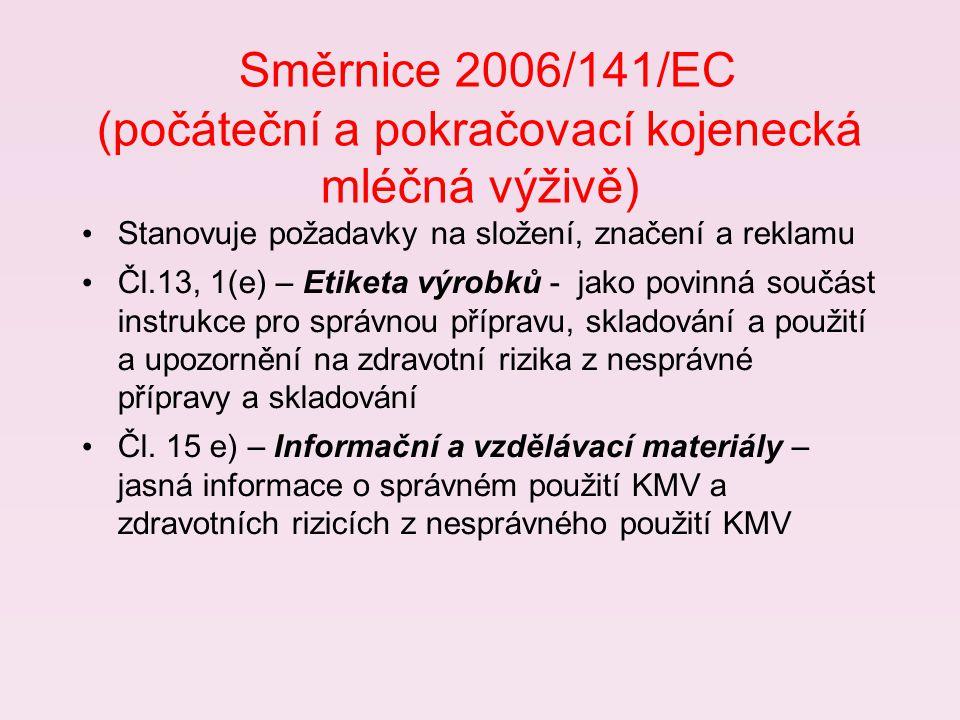 Směrnice 2006/141/EC (počáteční a pokračovací kojenecká mléčná výživě) Stanovuje požadavky na složení, značení a reklamu Čl.13, 1(e) – Etiketa výrobků - jako povinná součást instrukce pro správnou přípravu, skladování a použití a upozornění na zdravotní rizika z nesprávné přípravy a skladování Čl.