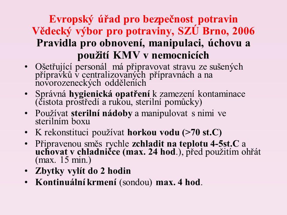 Evropský úřad pro bezpečnost potravin Vědecký výbor pro potraviny, SZÚ Brno, 2006 Pravidla pro obnovení, manipulaci, úchovu a použití KMV v nemocnicích Ošetřující personál má připravovat stravu ze sušených přípravků v centralizovaných přípravnách a na novorozeneckých odděleních Správná hygienická opatření k zamezení kontaminace (čistota prostředí a rukou, sterilní pomůcky) Používat sterilní nádoby a manipulovat s nimi ve sterilním boxu K rekonstituci používat horkou vodu (>70 st.C) Připravenou směs rychle zchladit na teplotu 4-5st.C a uchovat v chladničce (max.