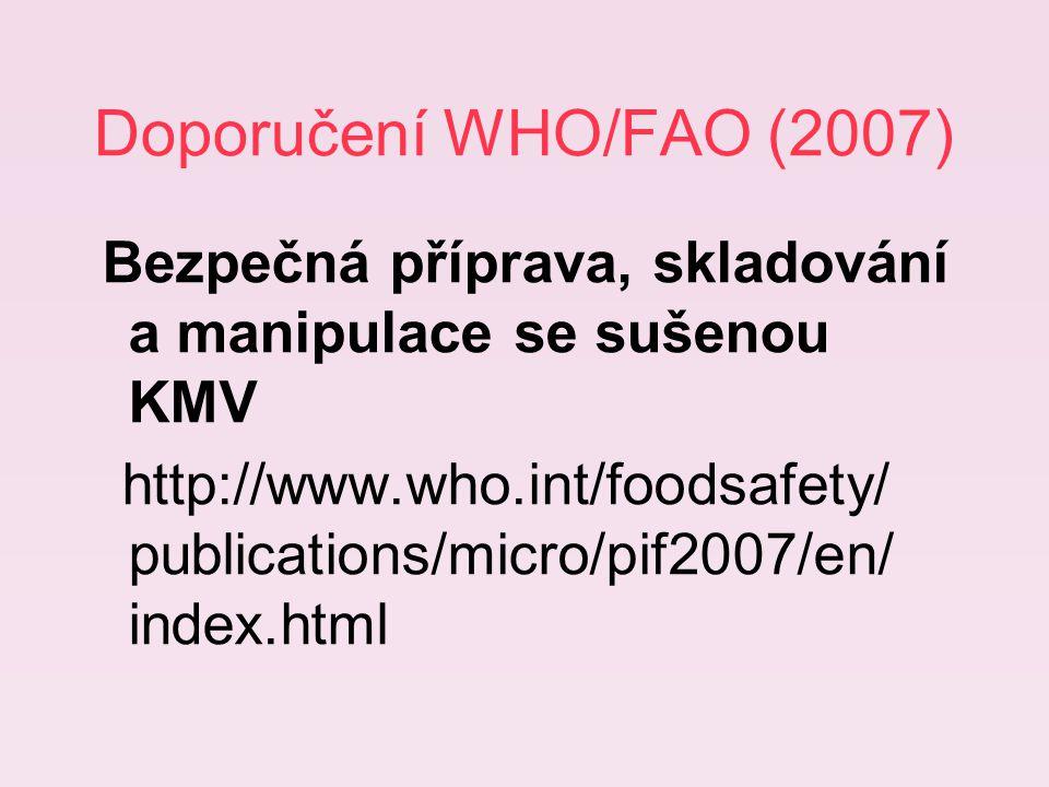 Doporučení WHO/FAO (2007) Bezpečná příprava, skladování a manipulace se sušenou KMV http://www.who.int/foodsafety/ publications/micro/pif2007/en/ index.html