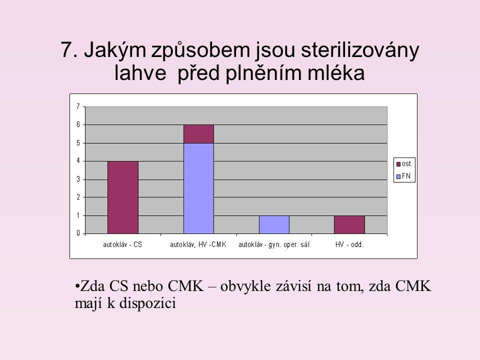 7. Jakým způsobem jsou sterilizovány lahve před plněním mléka Zda CS nebo CMK – obvykle závisí na tom, zda CMK mají k dispozici