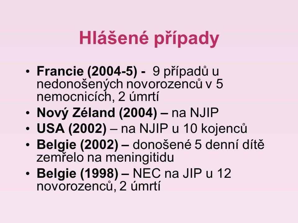 Hlášené případy Francie (2004-5) - 9 případů u nedonošených novorozenců v 5 nemocnicích, 2 úmrtí Nový Zéland (2004) – na NJIP USA (2002) – na NJIP u 10 kojenců Belgie (2002) – donošené 5 denní dítě zemřelo na meningitidu Belgie (1998) – NEC na JIP u 12 novorozenců, 2 úmrtí