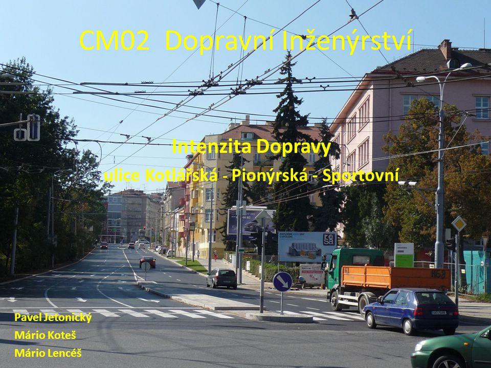 CM02 Dopravní Inženýrství Intenzita Dopravy ulice Kotlářská - Pionýrská - Sportovní Pavel Jetonický Mário Koteš Mário Lencéš