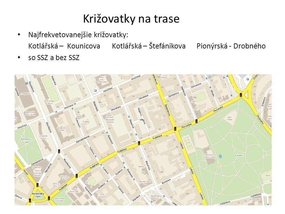 Križovatky na trase Najfrekvetovanejšie križovatky: Kotlářská – Kounicova Kotlářská – Štefánikova Pionýrská - Drobného so SSZ a bez SSZ