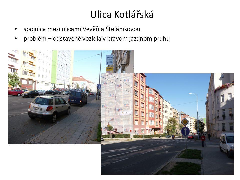 Ulica Kotlářská spojnica mezi ulicami Vevěří a Štefánikovou problém – odstavené vozidlá v pravom jazdnom pruhu