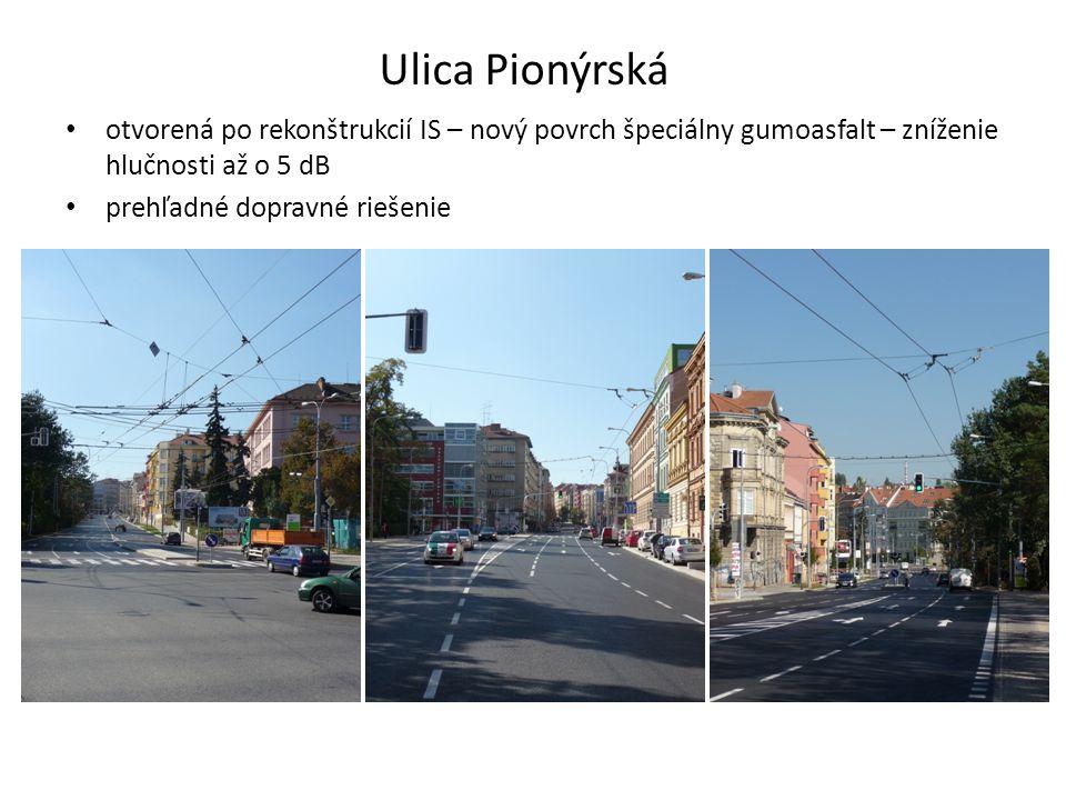 Ulica Pionýrská otvorená po rekonštrukcií IS – nový povrch špeciálny gumoasfalt – zníženie hlučnosti až o 5 dB prehľadné dopravné riešenie