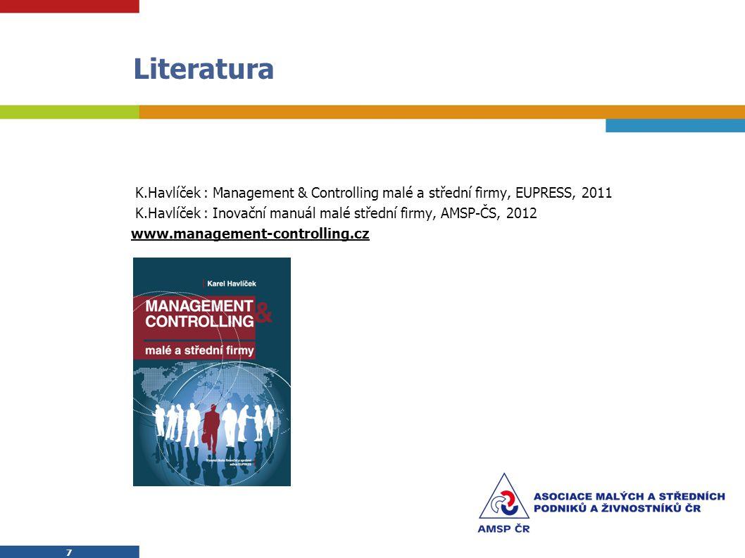 7 7 Literatura  K.Havlíček : Management & Controlling malé a střední firmy, EUPRESS, 2011  K.Havlíček : Inovační manuál malé střední firmy, AMSP-ČS, 2012 www.management-controlling.cz