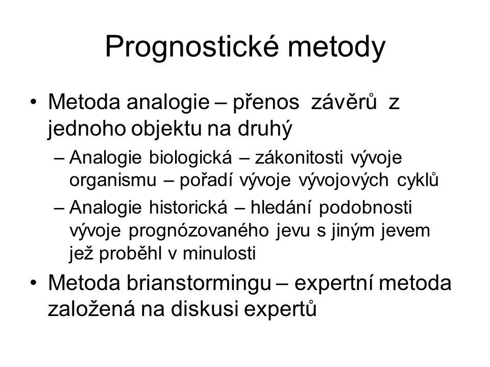 Prognostické metody Metoda analogie – přenos závěrů z jednoho objektu na druhý –Analogie biologická – zákonitosti vývoje organismu – pořadí vývoje výv