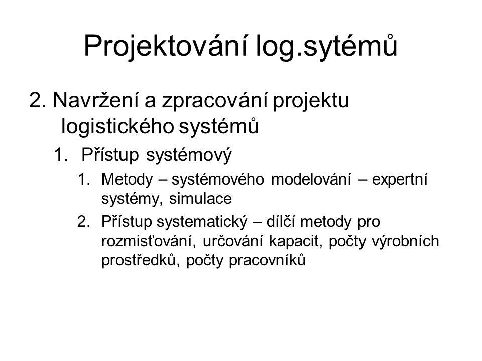 Projektování log.sytémů 2. Navržení a zpracování projektu logistického systémů 1.Přístup systémový 1.Metody – systémového modelování – expertní systém
