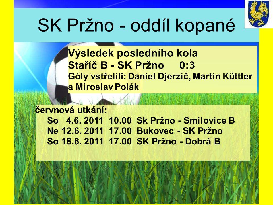 SK Pržno - oddíl kopané červnová utkání: So 4.6. 2011 10.00 Sk Pržno - Smilovice B Ne 12.6.