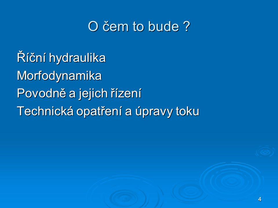 4 O čem to bude ? Říční hydraulika Morfodynamika Povodně a jejich řízení Technická opatření a úpravy toku