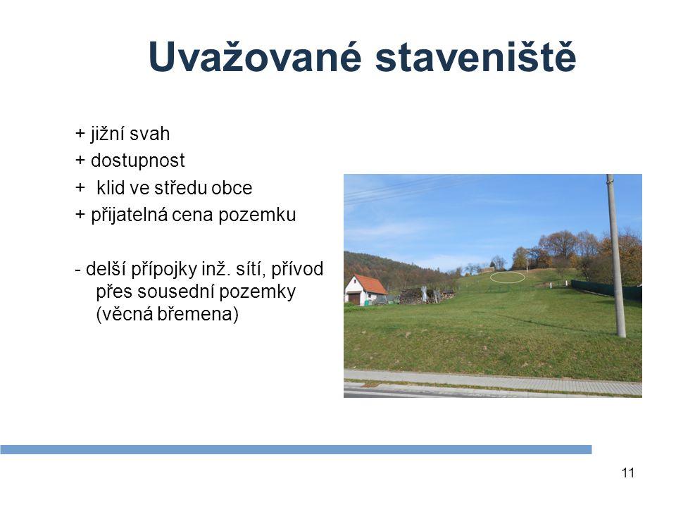 11 Uvažované staveniště + jižní svah + dostupnost + klid ve středu obce + přijatelná cena pozemku - delší přípojky inž.
