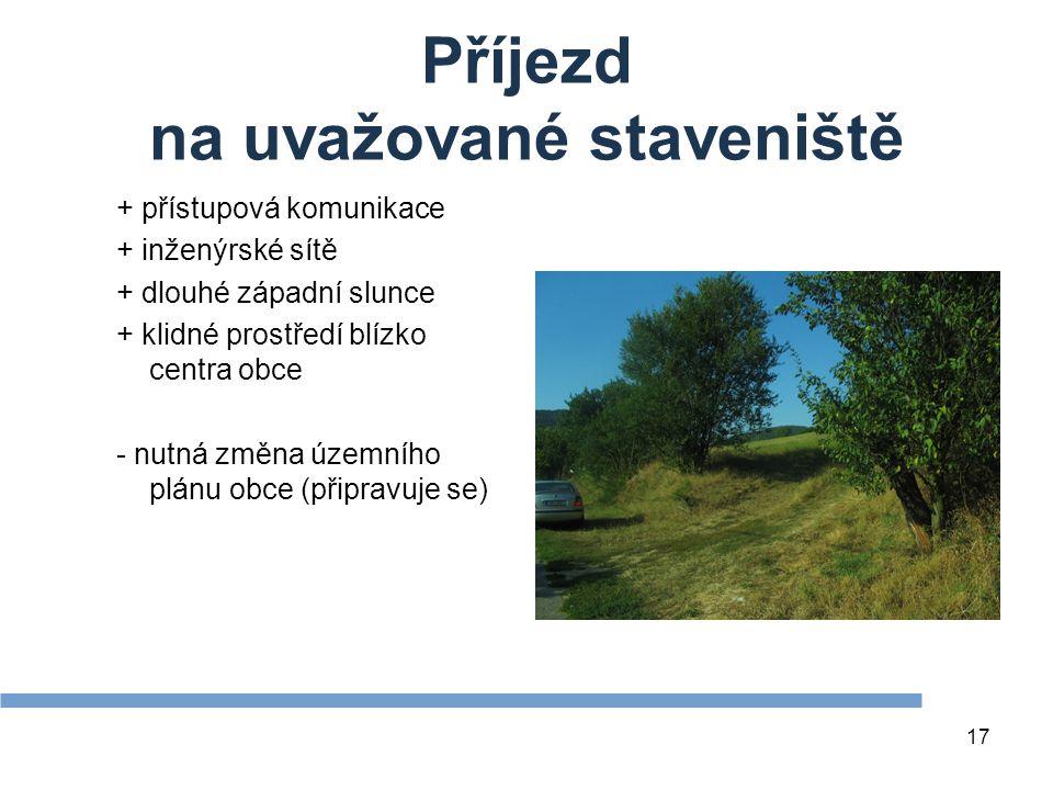 17 Příjezd na uvažované staveniště + přístupová komunikace + inženýrské sítě + dlouhé západní slunce + klidné prostředí blízko centra obce - nutná změna územního plánu obce (připravuje se)