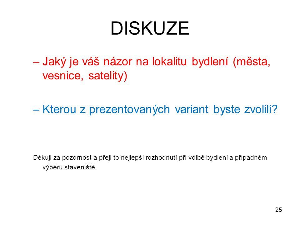 DISKUZE –Jaký je váš názor na lokalitu bydlení (města, vesnice, satelity) –Kterou z prezentovaných variant byste zvolili.