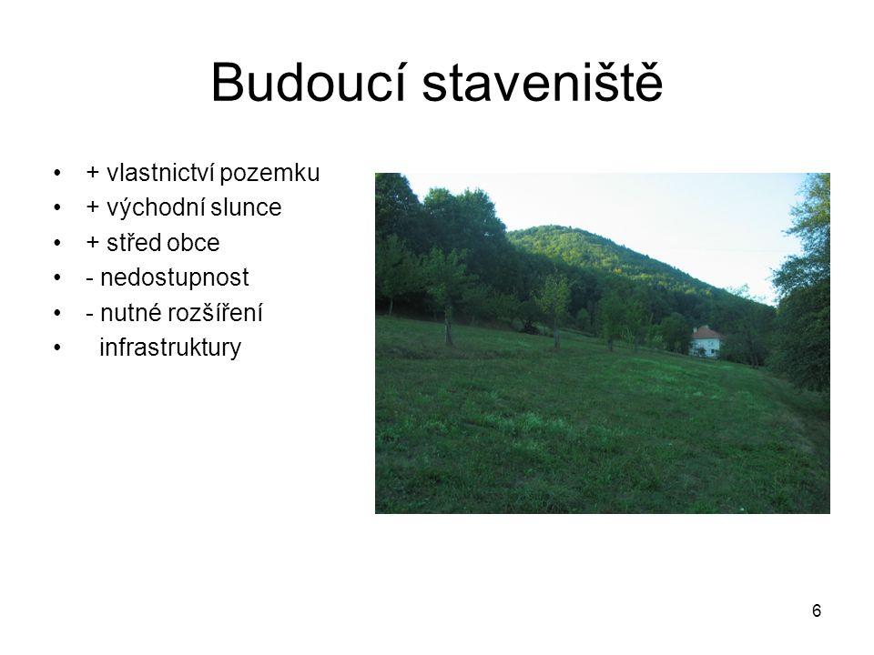 Budoucí staveniště + vlastnictví pozemku + východní slunce + střed obce - nedostupnost - nutné rozšíření infrastruktury 6