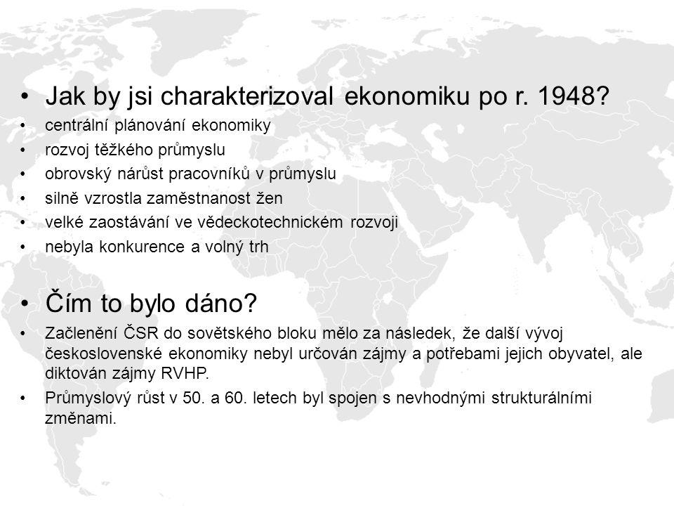 Jak by jsi charakterizoval ekonomiku po r. 1948? centrální plánování ekonomiky rozvoj těžkého průmyslu obrovský nárůst pracovníků v průmyslu silně vzr