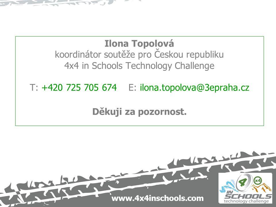 www.4x4inschools.com Ilona Topolová koordinátor soutěže pro Českou republiku 4x4 in Schools Technology Challenge T: +420 725 705 674 E: ilona.topolova